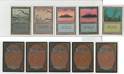 MTG GAME 5x UNLIMITED LANDS - 2x ISLAND 2x SWAMP 1x FOREST - NM