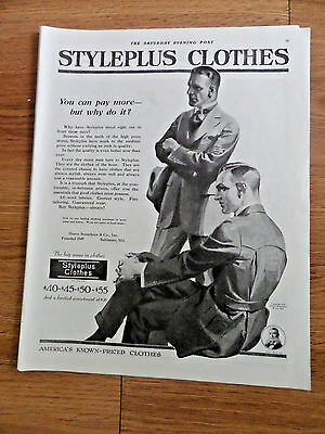 1920 Styleplus Clothes Henry Sonneborn Baltimore Ad  Suites