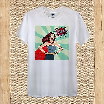 I Can Do It Supergirl Girl Power Pop Art Tshirt Design 100% Cotton unisex women