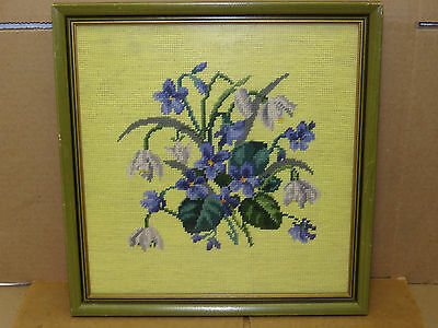 Framed Needle Point Textile Art Floral-Purple Flowers,Hand Done Craft+Story