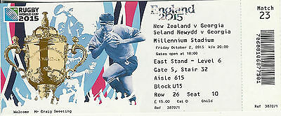 New Zealand v Georgia 2 Oct 2015 RUGBY WORLD CUP TICKET Pool C, Match 23