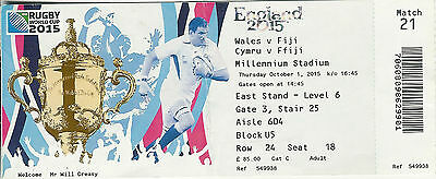 Wales v Fiji 1 Oct 2015 RUGBY WORLD CUP TICKET Pool A, Match 21 Millennium Stadi