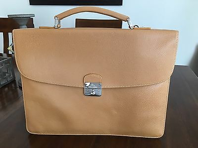 New! Longchamp Made In France Beige Leather Briefcase Laptop Bag