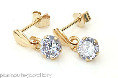 9ct Gold Lilac CZ drop Earrings Gift Boxed Made in UK
