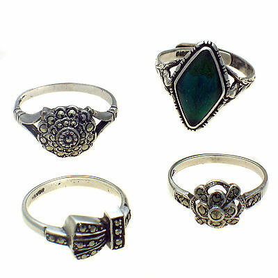 4 Vintage Mid Century Deco Sterling Silver Marcasite & Butterfly Wing Set Rings