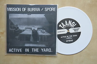 "MISSION OF BURMA / SPORE Active In The Yard USA split 7"" White vinyl Taang! 1994"
