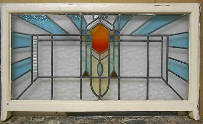 "ENGLISH LEADED STAINED GLASS SASH WINDOW Sweet Geometric 37.25"" x 21.75"""