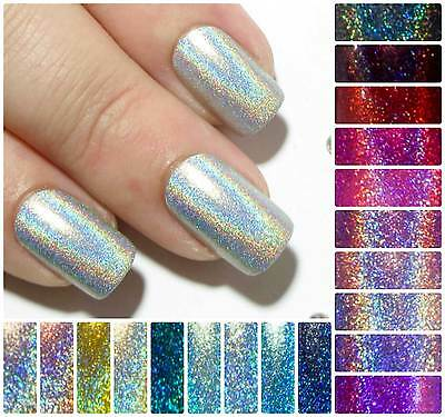 Holographic Fake False Press Glue On Nails Hand Painted Stiletto Coffin Almond