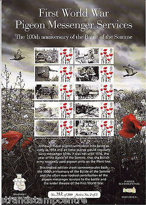 BC-492 - WW1 Pigeon Messenger Services Smilers Stamp Sheet