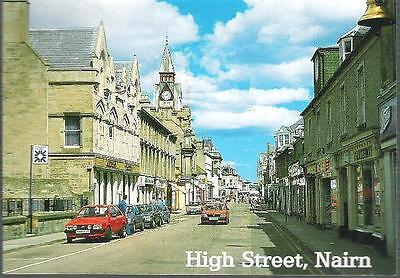 Nairn, Highland - High Street, shops - Whiteholme postcard c.1970s