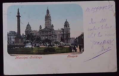 Nice Vintage Undivided Back Postcard Municipal Buildings, Glasgow 1902