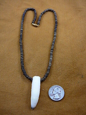 "G159-105) 2-1/8"" GATOR Aligator Tooth Teeth brown aceh bovine bone Bead NECKLACE"