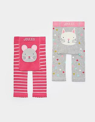 Joules 124133 Baby Girls Footless Knitted Leggings Twin Pack - Cat