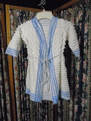 Vintage childs chenille bathrobe- 1940-50s great condition Blue and white