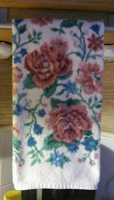 Vintage Cannon Usa Light Pink Hand Towel W Pink Roses & Blue Flowers 100% Cotton