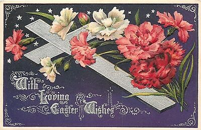 Easter~Red White Carnations~Cross~Purple Back~Silver Filigree Art Nouveau~Emboss