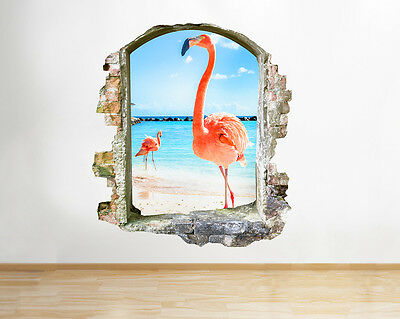 Q596 Flamingo Sea Living Bird Beach Window Wall Decal 3D Art Stickers Vinyl Room