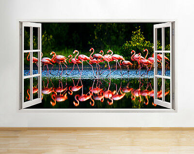 Q574 Flamingo Lake Pink Living Bird Window Wall Decal 3D Art Stickers Vinyl Room