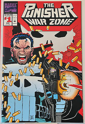 Punisher War Zone #1 (1992) Die Cut Cover, John Romita Jr, NM+ range.