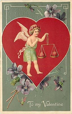 Valentine~Lime Gossamer Cupid in Red Heart~Hearts in Balances~Art Nouveau~Emboss