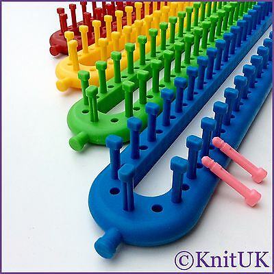 KnitUK Long Knitting Loom Set of 4. 1 Set / 4 Looms. Extra-pegs Included.