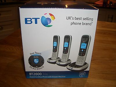 BT 2600 Trio digital cordless phones with answer machine, new