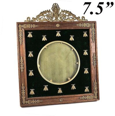 Antique French Empire Picture Frame, Napoleon Bees & Dore Bronze Crest, 7.5""