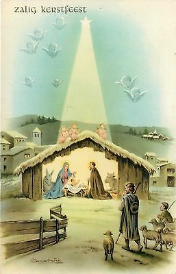 Christmas Nativity~Light Beams From Star on Stable~Shepherds~Lambs~Artist~GEL