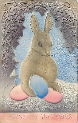 Easter~Gray Bunny Rabbit~Pink Blue Eggs~Purple Arbor~Airbrushed~P Sanders~IPCC