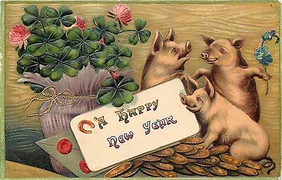 Fantasy~New Year~Pigs Celebrate~Gold Coins~Green Flowered Clover~Horseshoe~Emb