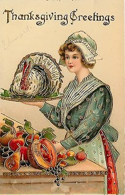 Thanksgiving~Pretty Pilgrim Maid~Feathered Turkey Platter~Fruit~Gold GEL~AA 278
