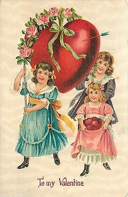 Valentine~Victorian Girls Heart Parade~Pink Blue Purple Dress~Roses~Heavy Emboss