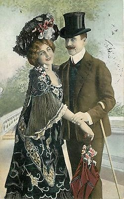 Elegant Victorian Couple~Large Flower Hat Matches Gown~Top Hat~Cane~1908