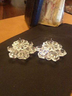 Swarovski--- Candle Holders--With Pin In Top  --Footed
