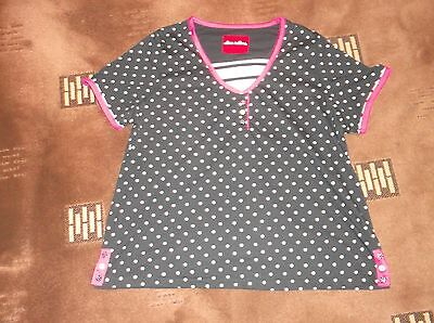 ladies lovely navy spotty Alice Collins top, lovely condition, size 20