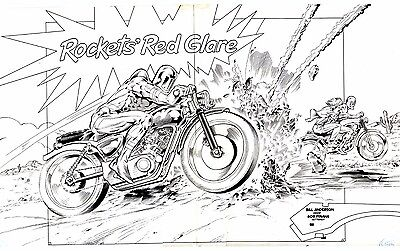 Motorcycles and robots Next Man spectacular doublepager issue 5, indie classic