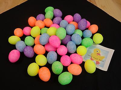 "Easter Eggs Lot of 50 Bright Colors 2"" Foam Purple Orange Pink Yellow Green Blue"