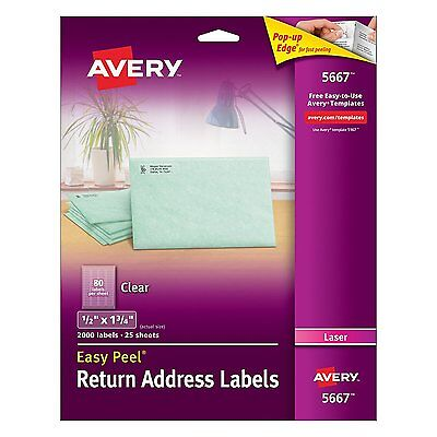 Avery Easy Peel 1/2 x 1 3/4 Inch Clear Return Address Labels 2000 Pack  # 5667