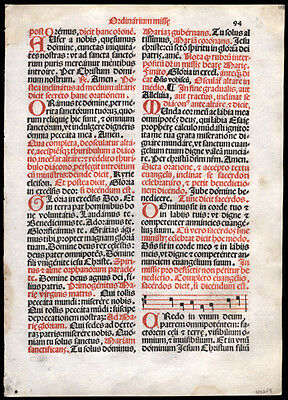 1566 Roman Missal Leaf Gregorian Chant Music for The Ordinary of The Mass