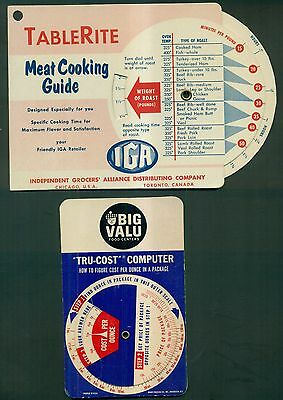 1950's Grocery Store Advertising Rotating Wheel Guides - Big Value and IGA