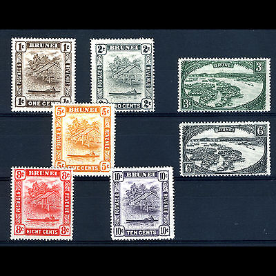 BRUNEI 1947 Colour Change Set to 10c. SG 79-85. Lightly Hinged Mint. (AM098)