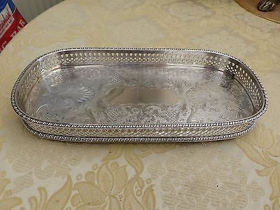 Vintage Rectangular Silver Plated  Footed Gallery Tray    #180217075/080