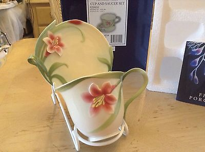 New Boxed Franz Porcelain Pink Autumn Lily Cup & Saucer Mint Condition