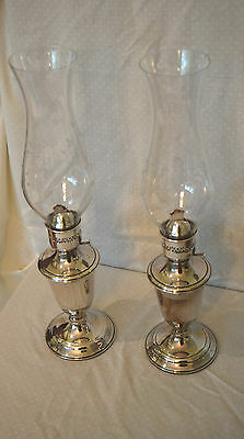 Vintage Pair Of Gorham 1983 Silver Plated Oil Lamps w/ Hurricanes Model YC490