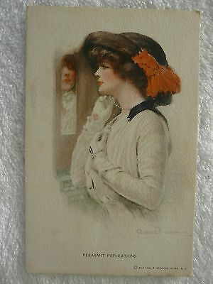 "American Edwardian postcard - Artist Clarence Underwood – ""Pleasant Reflections"""