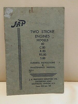 JAP Two Stroke Engines Models 80 C80 R80 RS80 S80 RUNNING INSTRUCTIONS MANUAL