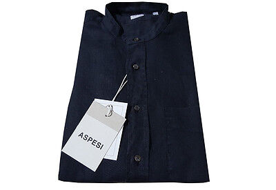 ASPESI camicia uomo 100% linen neck korean blue