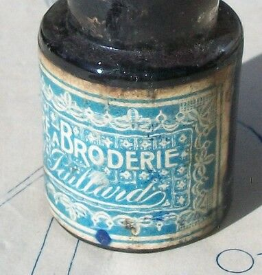Antique French Glass Bottle Blue Fabric Ink for Embroidery Trousseau Printing