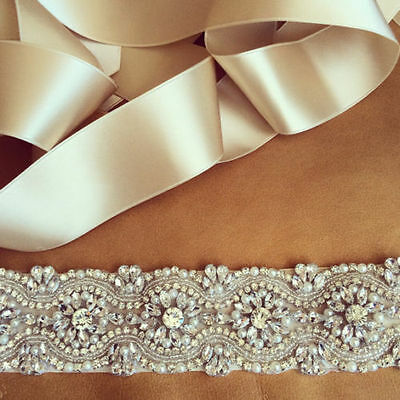 "Wedding Dress Sash Belt -  Crystal Pearl Bridal Sash Belt = BIG SALE =13.5"" long"