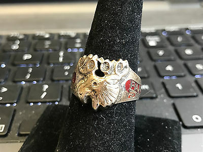 PAP Sterling Silver Ring Size 10 Moose Head With Antlers Design Jewelry